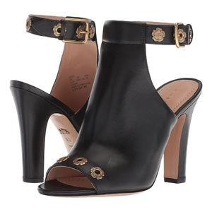 COACH Black Eddison Tea Rose Dress Sandals NEW
